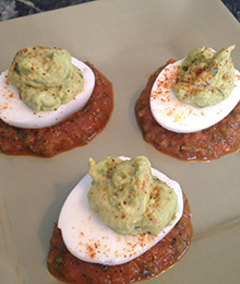 Avocado Deviled Eggs With Chile Salsa