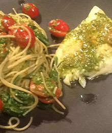 Dr. Beth's Spinach Pesto Pasta with Walleye